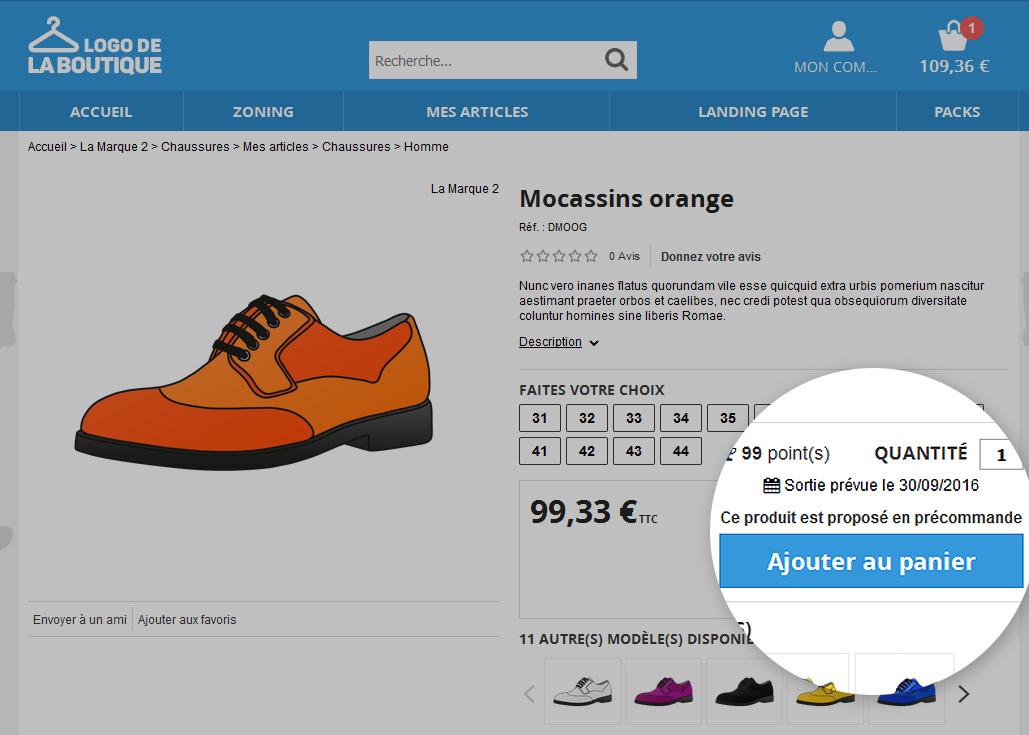 OASIS commerce : fiche produit avec précommande